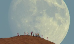 Massive Moon Rise Over Mission Peak Hikers