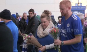 Leicester City fans lay flowers at King Power after owner's helicopter crashes