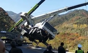 Thrilling scene as crane driver jumps off falling machine during rescue attempt