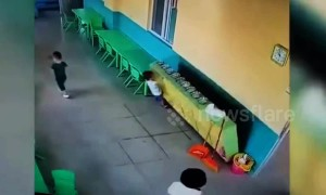 Cabinet falls on boy when he tries to get tableware at kindergarten
