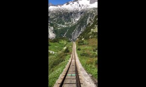 Amazing footage shows first-person perspective of Switzerland's steepest funicular railway
