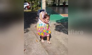 This 'headless' little girl is ready for Halloween