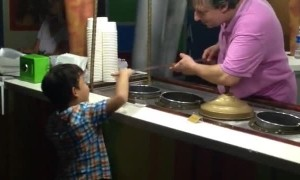 Ice cream vendor pulls priceless prank on kid