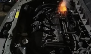 Car Engine Fire Demonstration