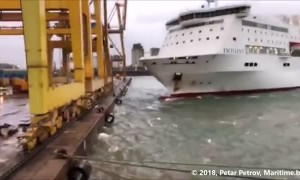 Shocking moment a ferry crashes into Barcelona port