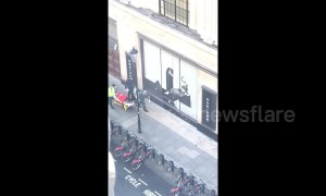 Moment man is stretchered out of Sony HQ by paramedics