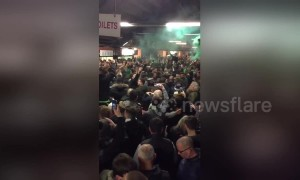 Hibernian fans go wild before Edinburgh derby against Hearts