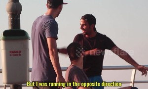 Just keep going straight! Pranksters pull off hilarious stunt on jogger