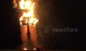 Boris Johnson effigy goes up in flames at Edenbridge Bonfire Night