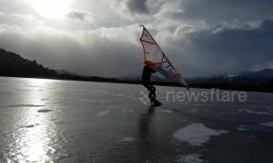 Kitewing skating on Alaska's first ice