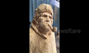 Talented man carves celebrities out of wood