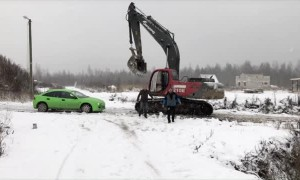 Car vs Excavator Ends in Instant Karma