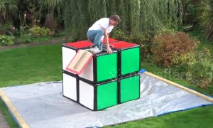 Puzzlemaker designs gigantic Rubik's Cube big enough to fit him inside