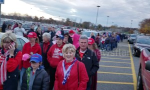 Line snakes in parking lot ahead of Trump campaign rally in Fort Wayne, Indiana