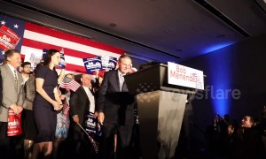 New Jersey Senate Bob Menendez takes stage after election victory