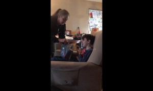 Emotional moment boy opens present his grandmother bought him before she died