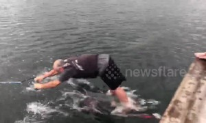 Canadian man dragged along lake in hilarious water skiing fail