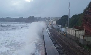 Incredible footage of a storm hitting train tracks in Dawlish
