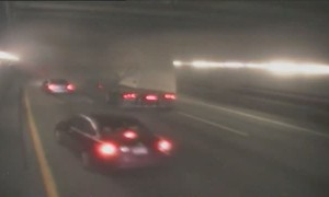 Camera captures the moment a truck's load hits tunnel ceiling in Boston