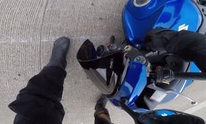 Motorcyclist Crashes Into Barricade