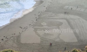 Sand portraits honour First World War dead in Cornwall