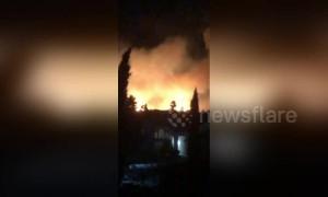 Fast-moving brush fire breaks out near Fontana, California