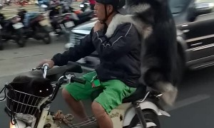 Dog and Owner Piggyback Motorcycle Ride