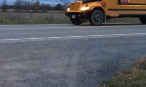 Cars Fail to Stop for School Bus with Red Lights Flashing