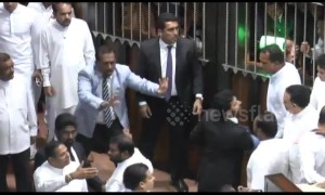 Dozens injured as Sri Lankan parliament erupts into indoor brawl