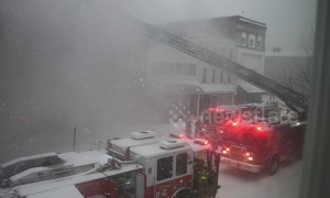 Firefighters arrive to tackle Pennsylvania blaze in thick snowfall
