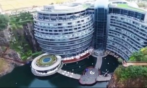 Spectacular drone footage of world's first underground luxury hotel in Shanghai