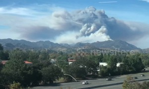 Time lapse shows flare up of Woolsey Fire