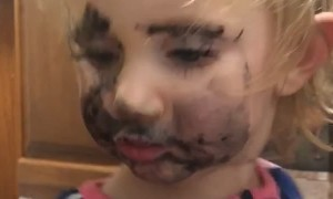 Little Girl Makes Huge Mess Doing Makeup