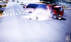 Scooter driver miraculously escapes death twice seconds apart