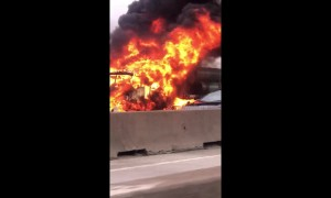 Truck goes up in flames on Interstate 45