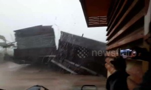Moment house is blown away in powerful storm in Thailand