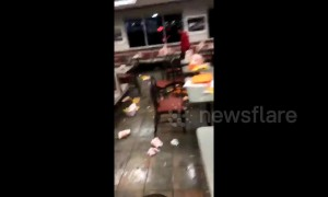 Trash strewn across Houston fast food restaurant after epic high-school food fight