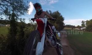 Drone gets taken out mid-flight by dirt-biker