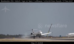 Very bumpy landing at Prague Airport as crosswinds batter Lufthansa plane