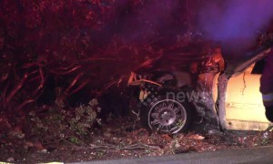 One injured when BMW M3 slams into lamppost in Riverside, California
