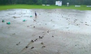 Soccer match called off as pitch is wet from gigantic flash flood