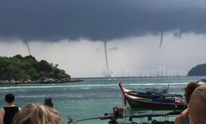 Incredible quadruple waterspout amazes tourists on remote Thai island