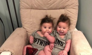 Baby twin girls love a good blow dry