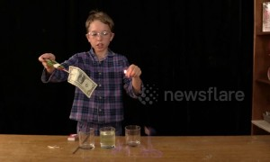 Young scientist sets dollar bill on fire with mystery solution