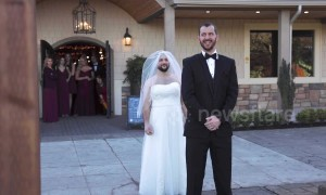 Best friend trades places with bride for 'first look' prank on groom