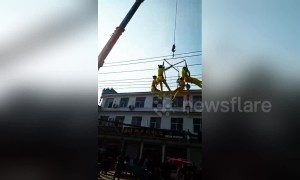 Chinese acrobats plummet to the ground during aerial performance