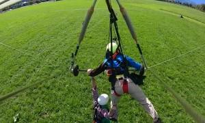 Hang Glider Barely Hangs On
