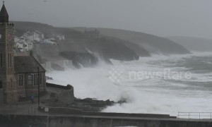 Storm Diana breaks against sea walls in Cornwall