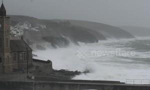 Storm Diana breaks against sea walls in Cornwall