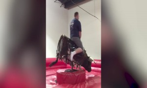 Mechanical Bull Bests Clumsy Man